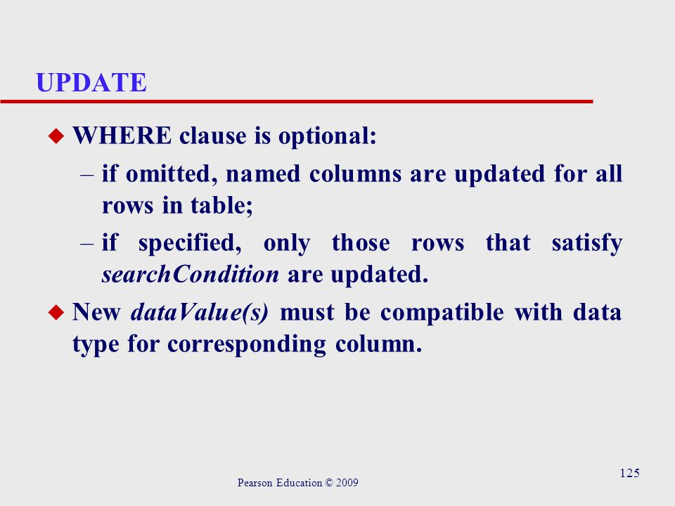 125 UPDATE u WHERE clause is optional: –if omitted, named columns are updated for all rows in table; –if specified, only those rows that satisfy searchCondition are updated.