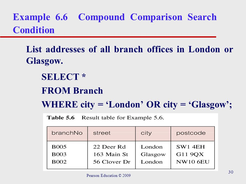 30 Example 6.6 Compound Comparison Search Condition List addresses of all branch offices in London or Glasgow.