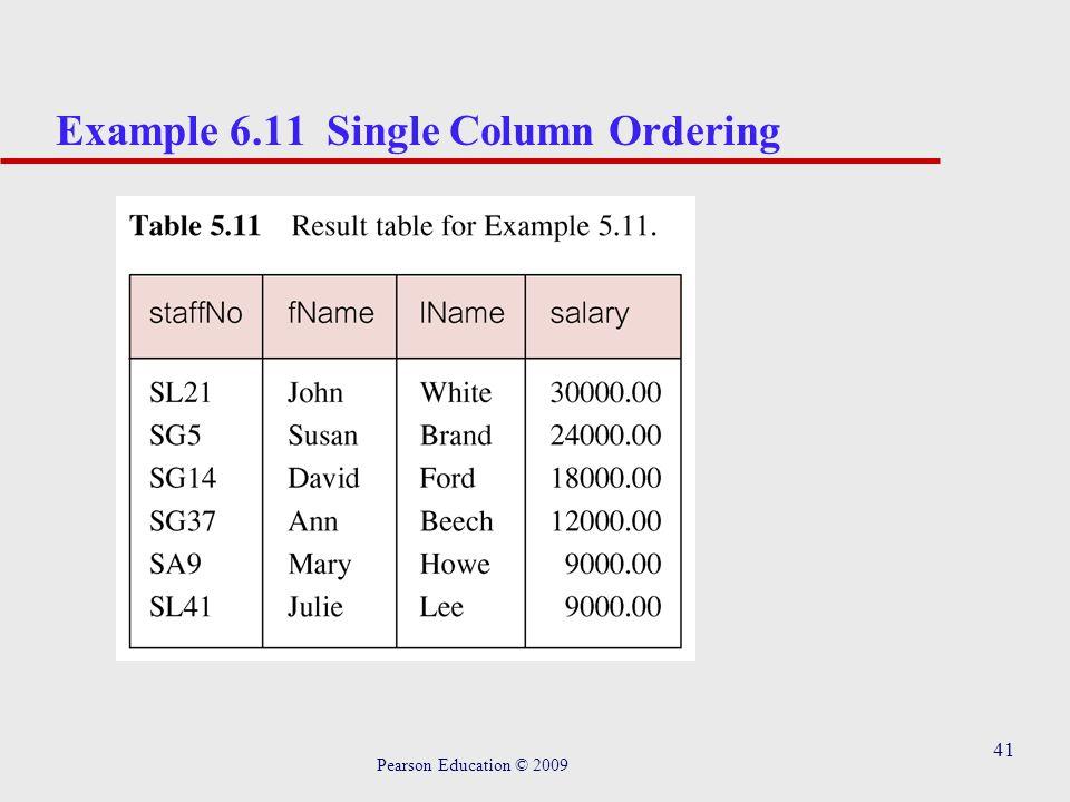 41 Example 6.11 Single Column Ordering Pearson Education © 2009