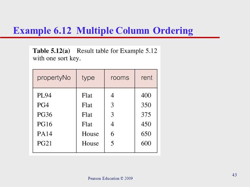 43 Example 6.12 Multiple Column Ordering Pearson Education © 2009