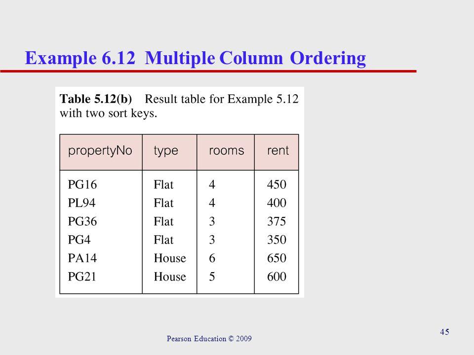 45 Example 6.12 Multiple Column Ordering Pearson Education © 2009