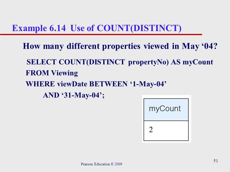 51 Example 6.14 Use of COUNT(DISTINCT) How many different properties viewed in May '04.