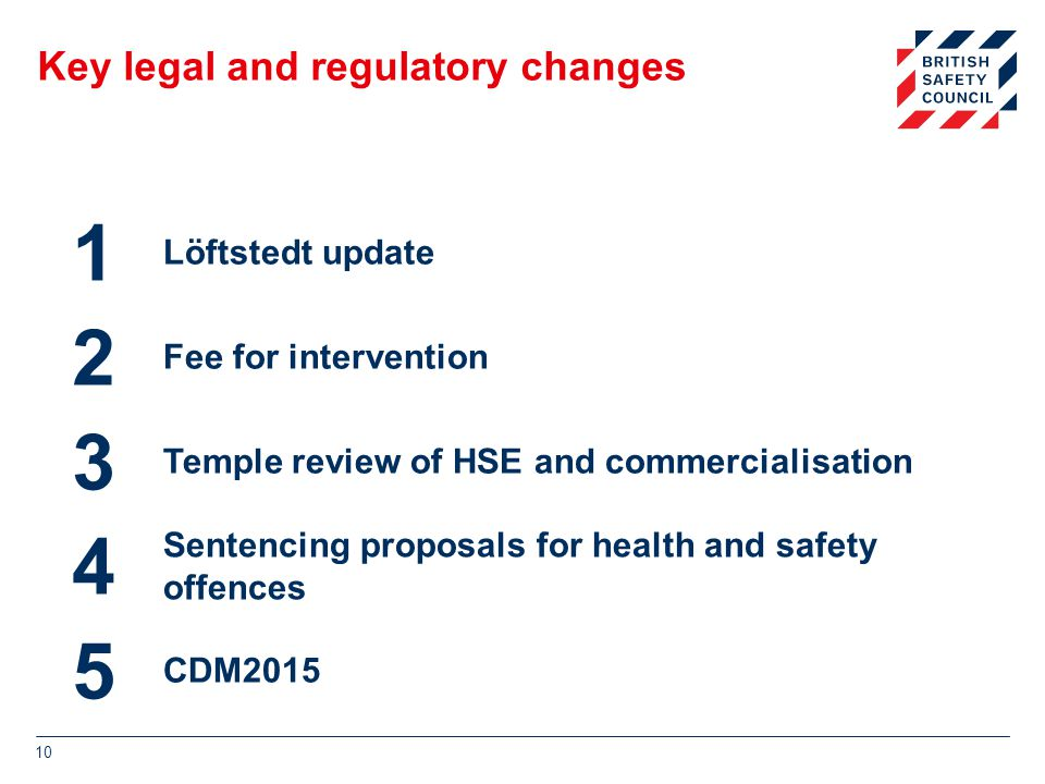 Key legal and regulatory changes 10 1 Löftstedt update 2 Fee for intervention 3 Temple review of HSE and commercialisation 4 Sentencing proposals for health and safety offences 5 CDM2015