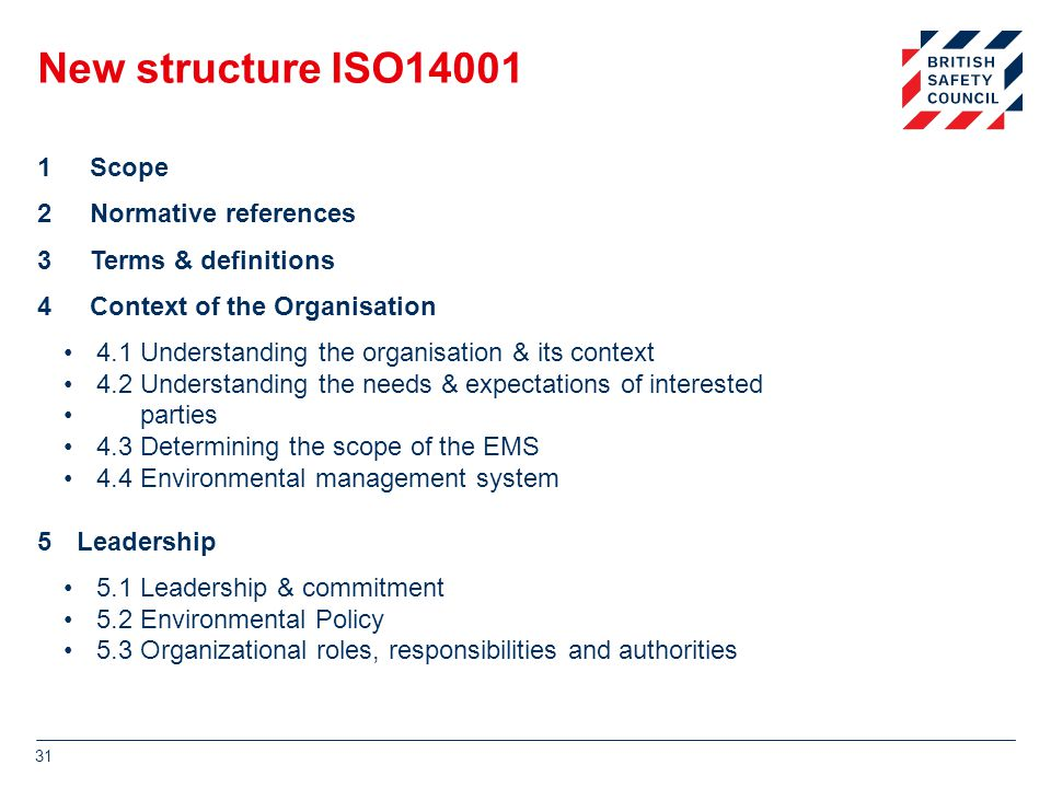 New structure ISO14001 1Scope 2Normative references 3Terms & definitions 4Context of the Organisation 4.1 Understanding the organisation & its context 4.2 Understanding the needs & expectations of interested parties 4.3 Determining the scope of the EMS 4.4 Environmental management system 5Leadership 5.1 Leadership & commitment 5.2 Environmental Policy 5.3 Organizational roles, responsibilities and authorities 31