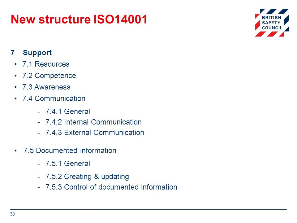New structure ISO14001 7 Support 7.1 Resources 7.2 Competence 7.3 Awareness 7.4 Communication -7.4.1 General -7.4.2 Internal Communication -7.4.3 External Communication 7.5 Documented information -7.5.1 General -7.5.2 Creating & updating -7.5.3 Control of documented information 33