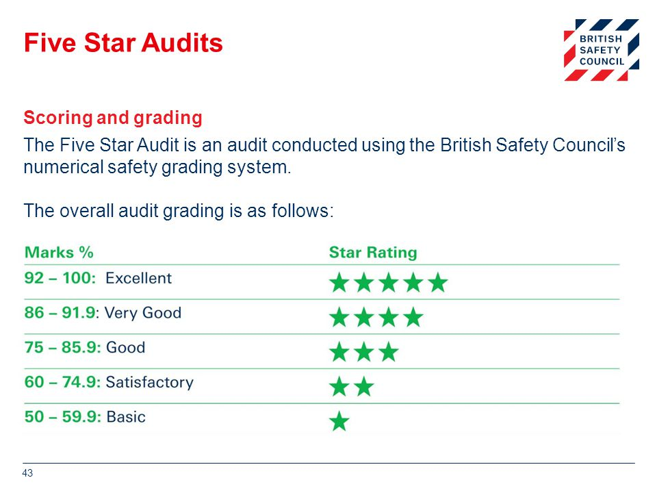 Five Star Audits The Five Star Audit is an audit conducted using the British Safety Council's numerical safety grading system.