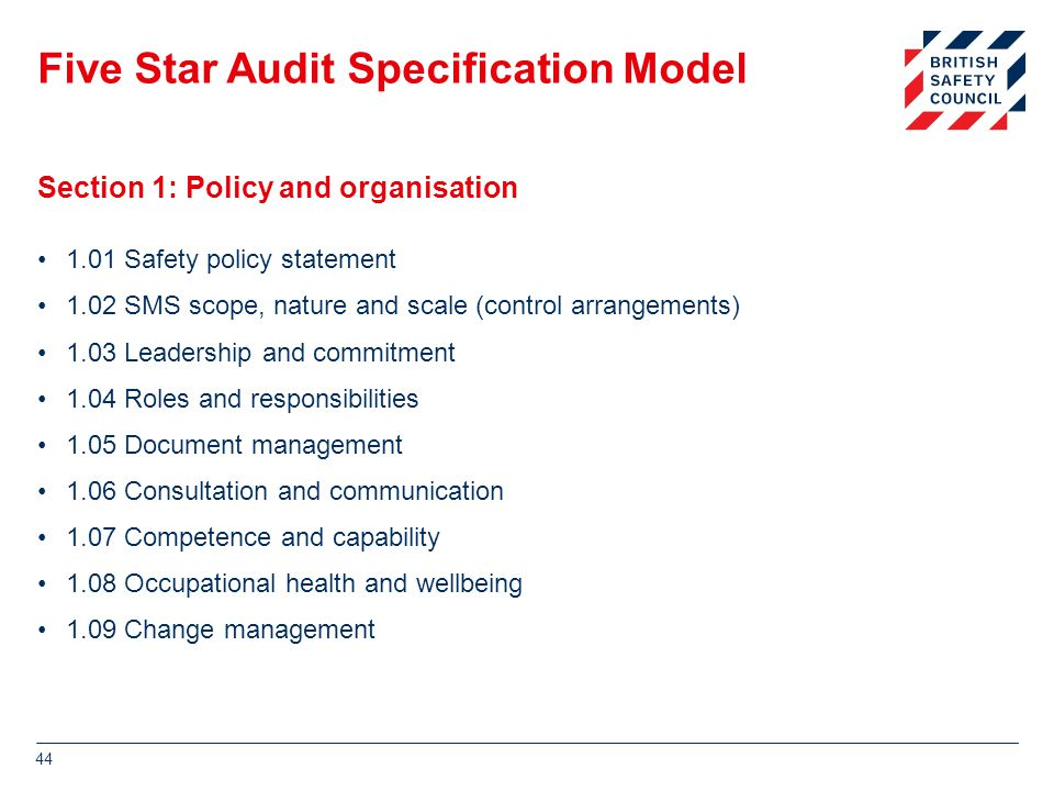 Five Star Audit Specification Model 1.01 Safety policy statement 1.02 SMS scope, nature and scale (control arrangements) 1.03 Leadership and commitment 1.04 Roles and responsibilities 1.05 Document management 1.06 Consultation and communication 1.07 Competence and capability 1.08 Occupational health and wellbeing 1.09 Change management 44 Section 1: Policy and organisation