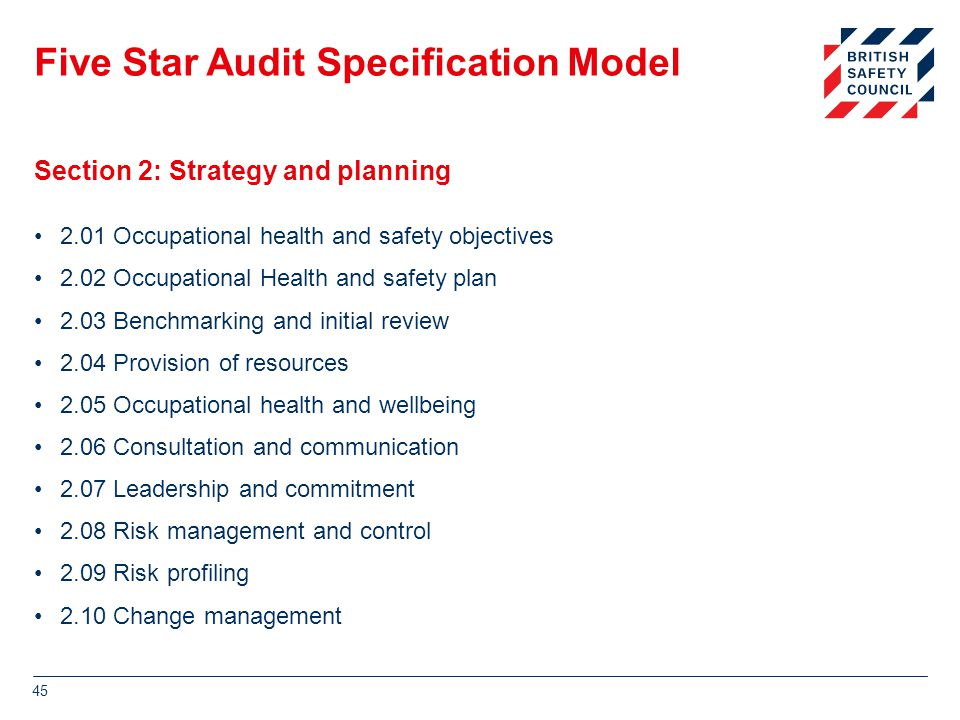 Five Star Audit Specification Model 2.01 Occupational health and safety objectives 2.02 Occupational Health and safety plan 2.03 Benchmarking and initial review 2.04 Provision of resources 2.05 Occupational health and wellbeing 2.06 Consultation and communication 2.07 Leadership and commitment 2.08 Risk management and control 2.09 Risk profiling 2.10 Change management 45 Section 2: Strategy and planning