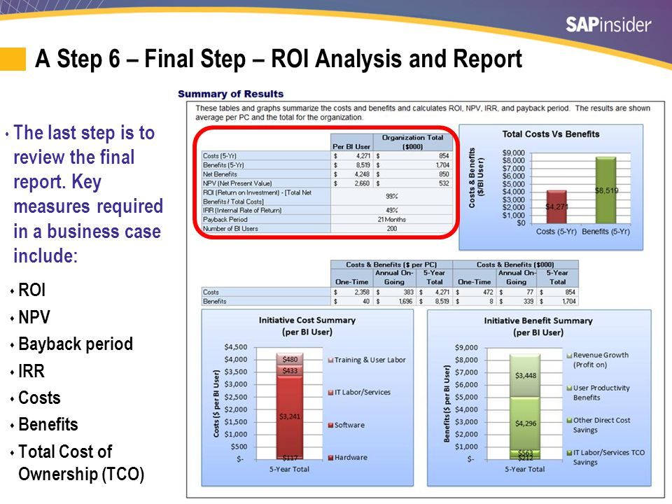 33 A Step 6 – Final Step – ROI Analysis and Report The last step is to review the final report. Key measures required in a business case include:  RO
