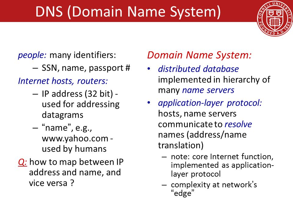 people: many identifiers: – SSN, name, passport # Internet hosts, routers: – IP address (32 bit) - used for addressing datagrams – name , e.g., www.yahoo.com - used by humans Q: how to map between IP address and name, and vice versa .