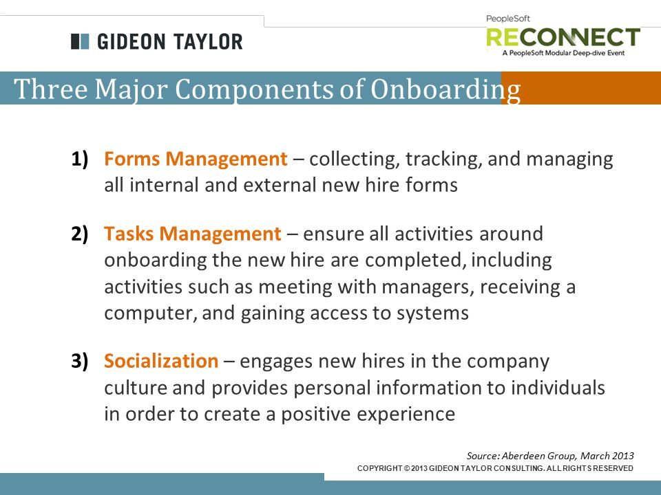 COPYRIGHT © 2013 GIDEON TAYLOR CONSULTING. ALL RIGHTS RESERVED Three Major Components of Onboarding 1)Forms Management – collecting, tracking, and man