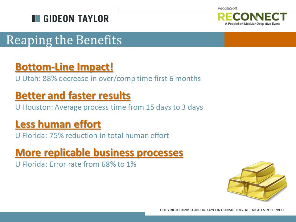 COPYRIGHT © 2013 GIDEON TAYLOR CONSULTING. ALL RIGHTS RESERVED Reaping the Benefits Bottom-Line Impact! U Utah: 88% decrease in over/comp time first 6
