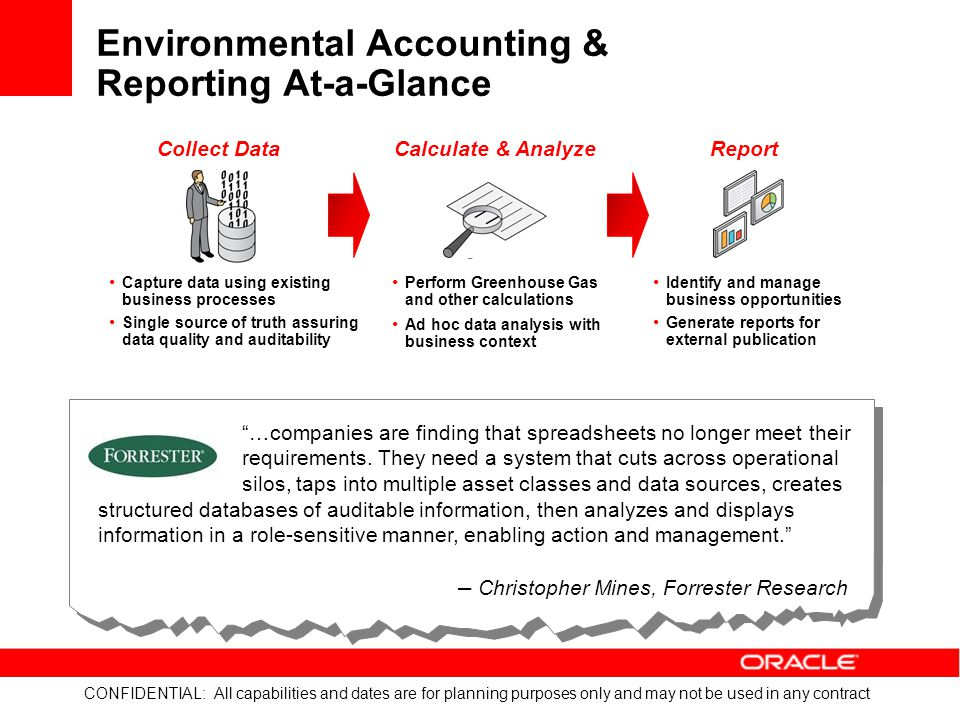 CONFIDENTIAL: All capabilities and dates are for planning purposes only and may not be used in any contract Key Features for Emissions Calculations Auditable and in Line with Global Standards Identify emission sources and classify by type Set roll-up aggregation levels Define emissions factors by source Set custom emissions factors Manage emissions factor changes with date effectiveness Support multiple greenhouse gas protocols Automatically convert units of measure
