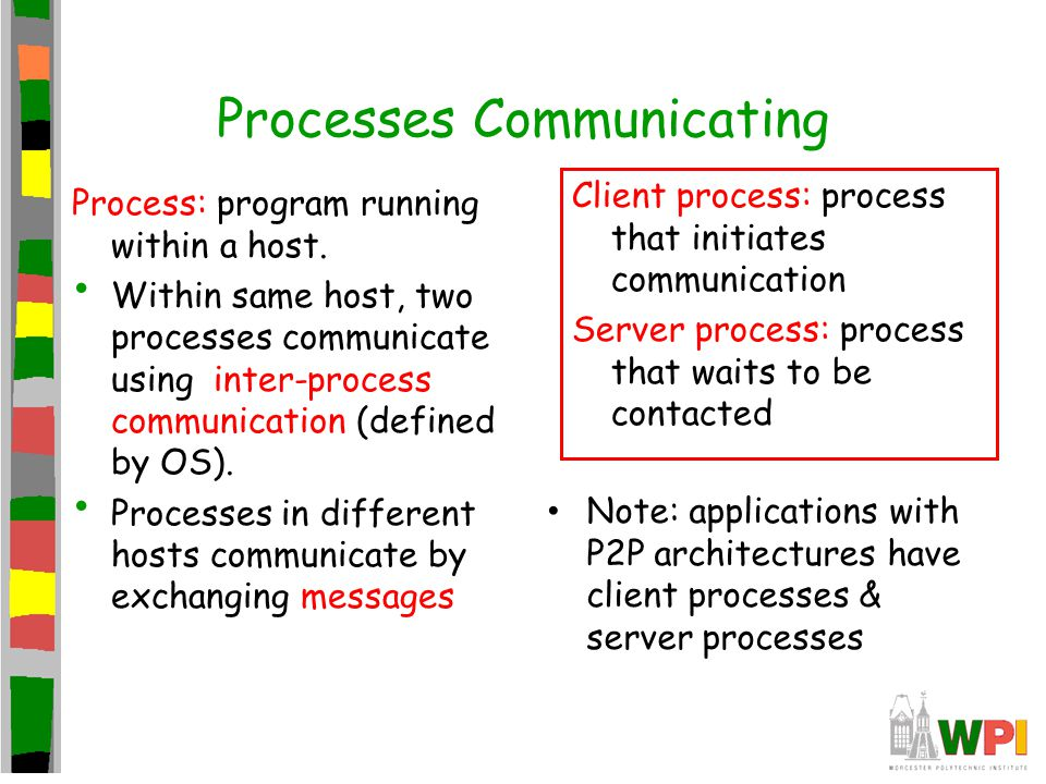 Processes Communicating Process: program running within a host. Within same host, two processes communicate using inter-process communication (defined