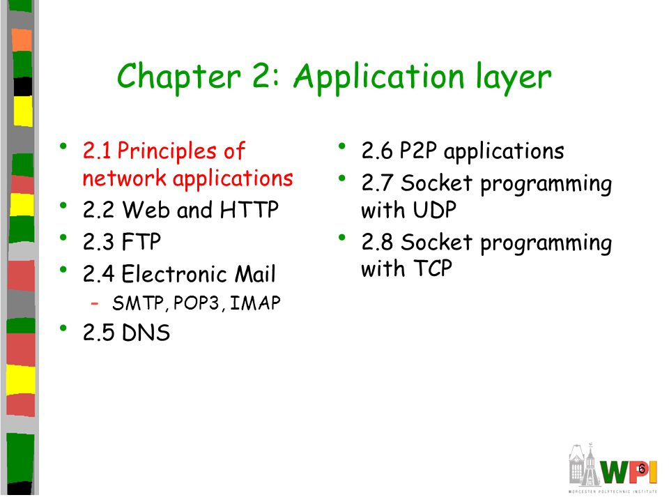 6 Chapter 2: Application layer 2.1 Principles of network applications 2.2 Web and HTTP 2.3 FTP 2.4 Electronic Mail –SMTP, POP3, IMAP 2.5 DNS 2.6 P2P a