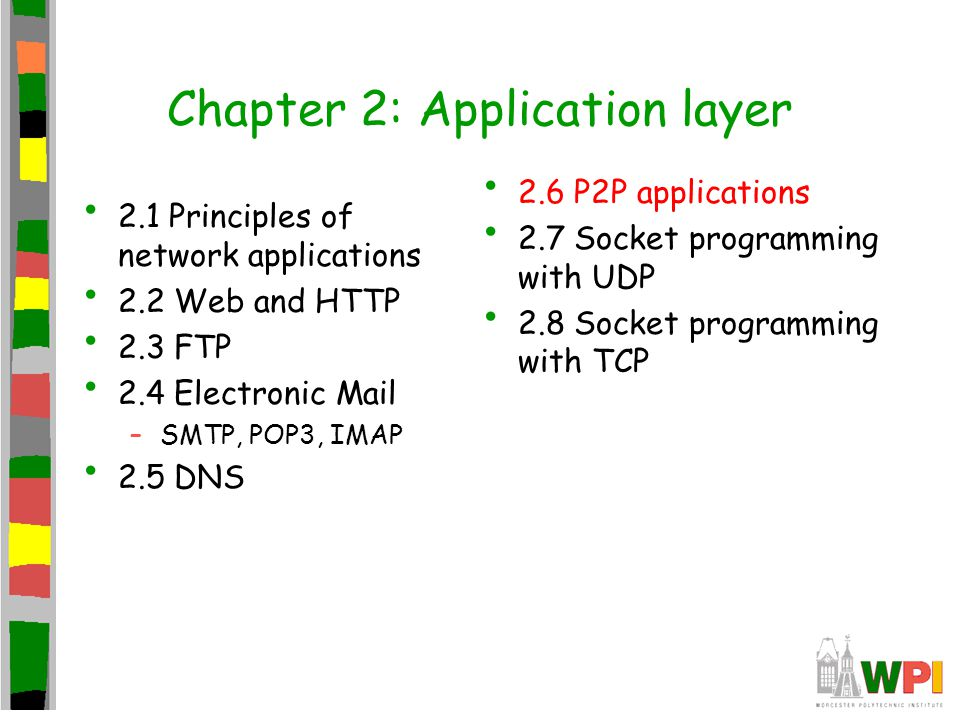 Chapter 2: Application layer 2.1 Principles of network applications 2.2 Web and HTTP 2.3 FTP 2.4 Electronic Mail –SMTP, POP3, IMAP 2.5 DNS 2.6 P2P applications 2.7 Socket programming with UDP 2.8 Socket programming with TCP