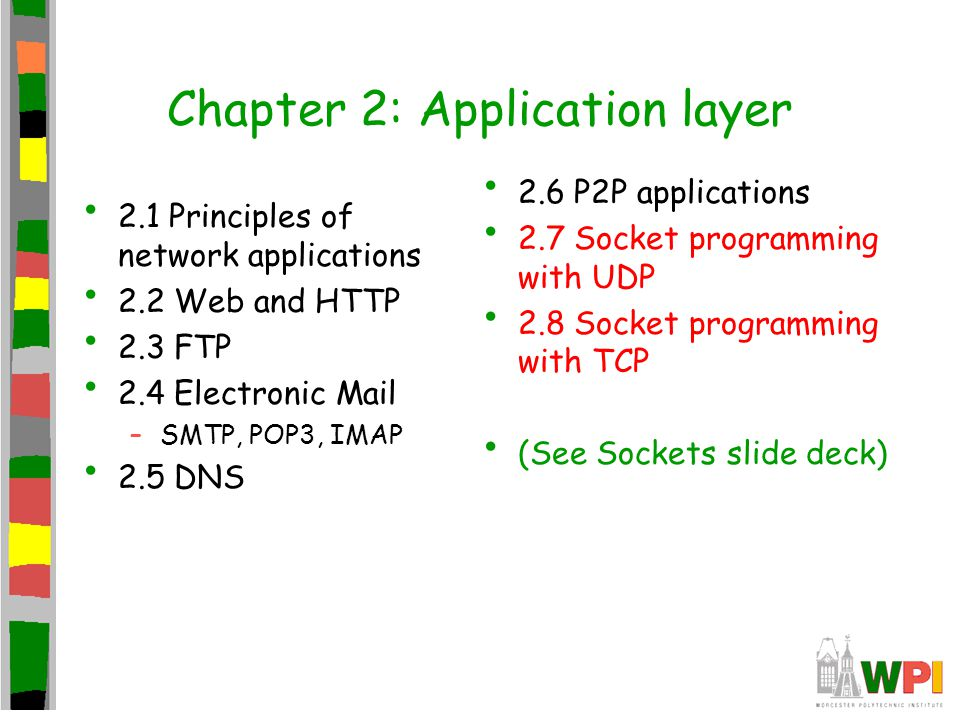 Chapter 2: Summary Application architectures –client-server –P2P –hybrid Application service requirements: – reliability, bandwidth, delay Internet transport service model –connection-oriented, reliable: TCP –unreliable, datagrams: UDP Study of network apps now complete.