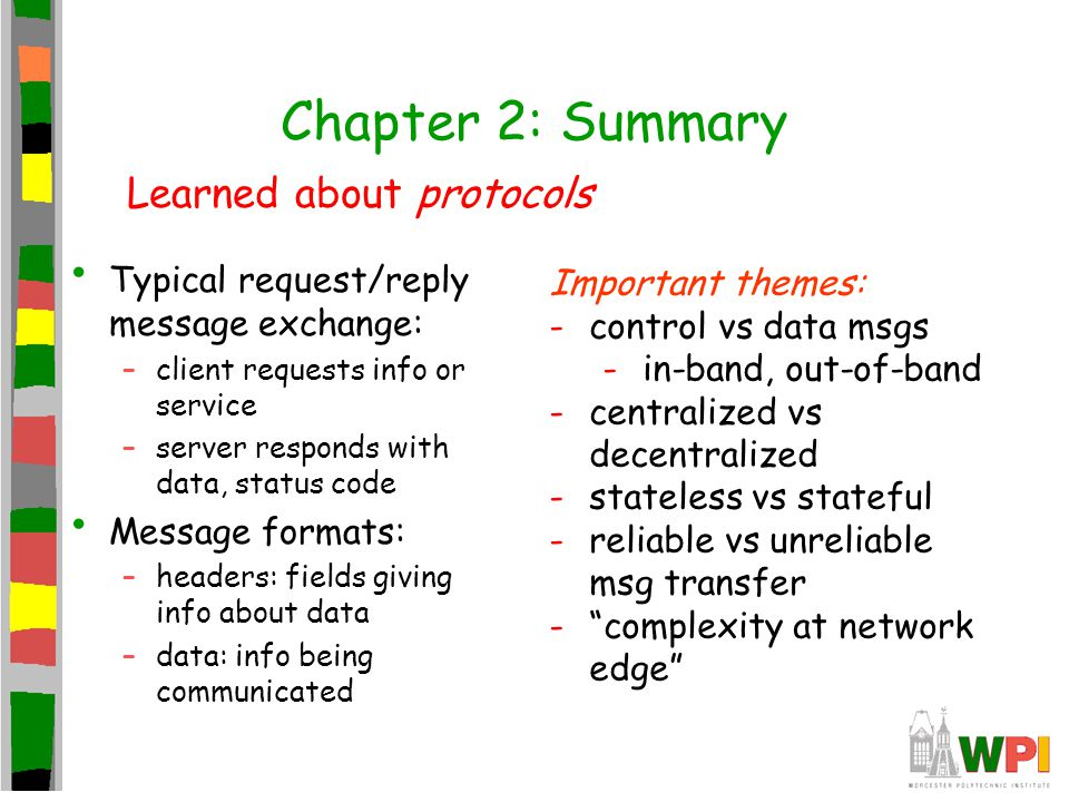 Chapter 2: Summary Typical request/reply message exchange: –client requests info or service –server responds with data, status code Message formats: –headers: fields giving info about data –data: info being communicated Learned about protocols Important themes: -control vs data msgs -in-band, out-of-band -centralized vs decentralized -stateless vs stateful -reliable vs unreliable msg transfer - complexity at network edge