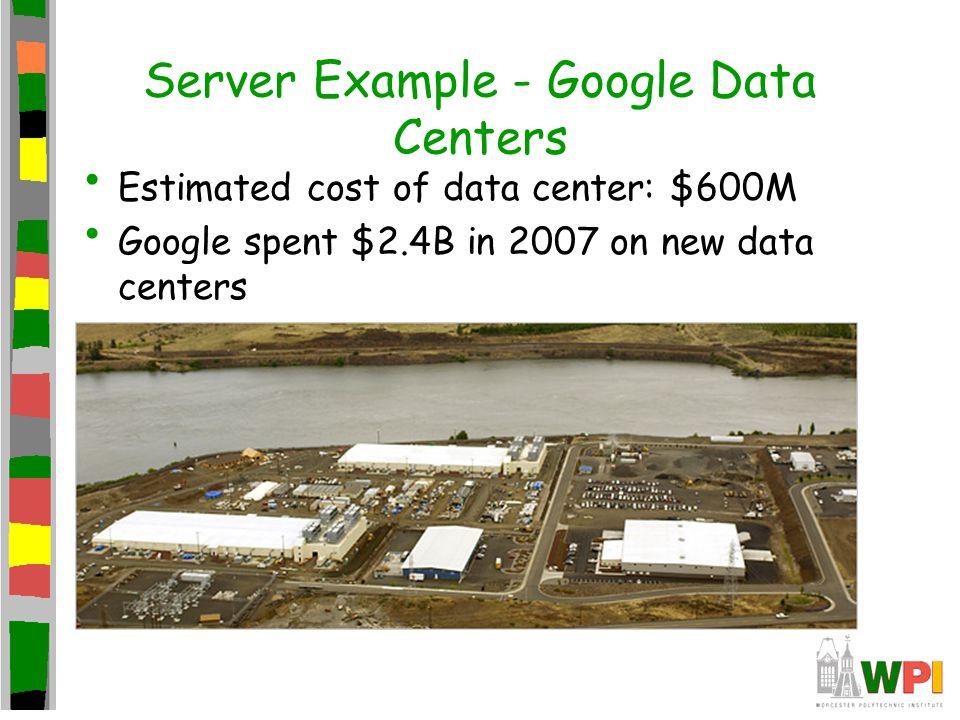 Server Example - Google Data Centers Estimated cost of data center: $600M Google spent $2.4B in 2007 on new data centers Each data center uses 50-100