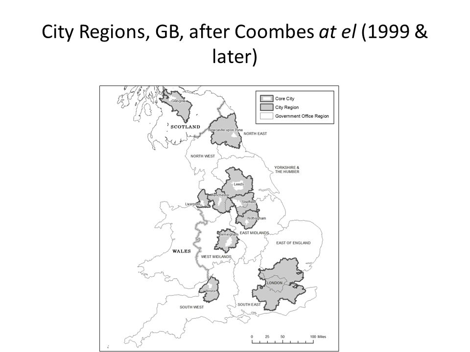 City Regions, GB, after Coombes at el (1999 & later)
