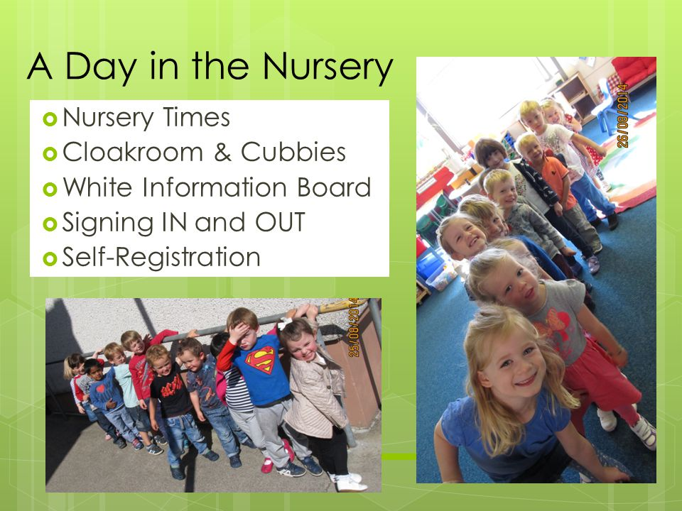 Nursery Times  Cloakroom & Cubbies  White Information Board  Signing IN and OUT  Self-Registration A Day in the Nursery