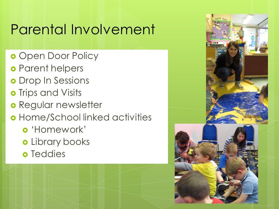  Open Door Policy  Parent helpers  Drop In Sessions  Trips and Visits  Regular newsletter  Home/School linked activities  'Homework'  Library books  Teddies Parental Involvement