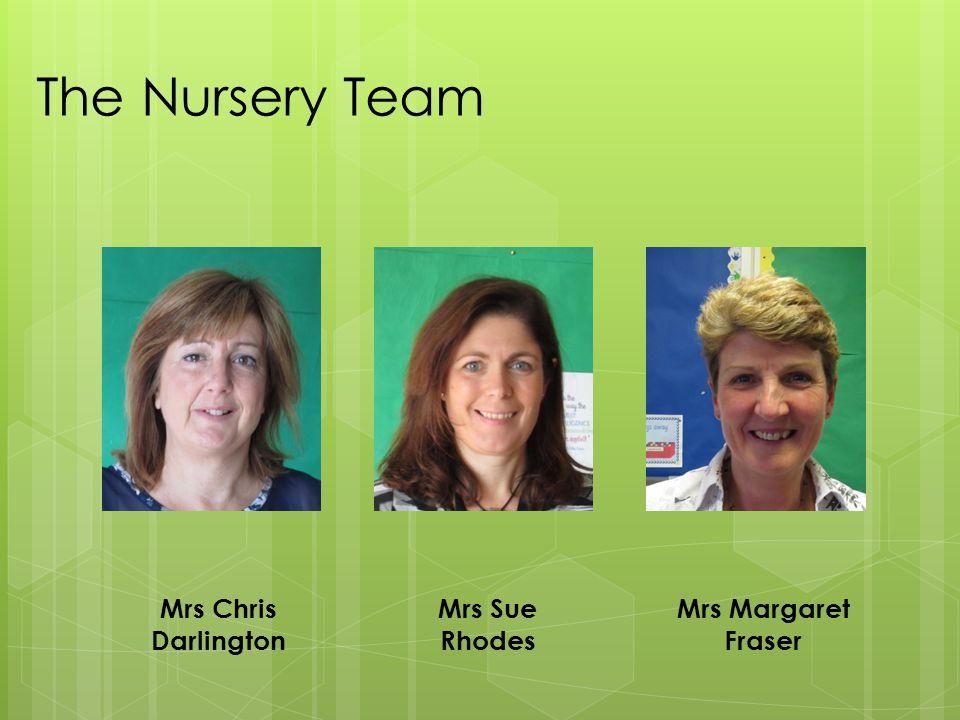 The Nursery Team Mrs Chris Darlington Mrs Sue Rhodes Mrs Margaret Fraser