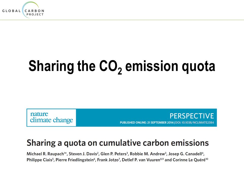 Sharing the CO 2 emission quota