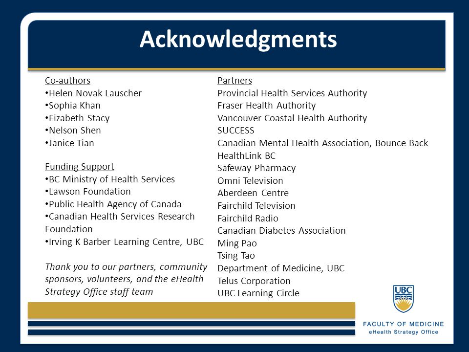 Acknowledgments Co-authors Helen Novak Lauscher Sophia Khan Eizabeth Stacy Nelson Shen Janice Tian Funding Support BC Ministry of Health Services Laws