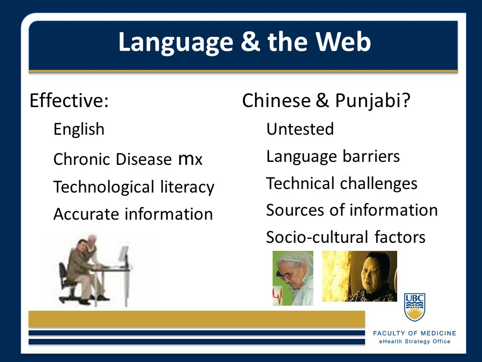 Language & the Web Effective: English Chronic Disease m x Technological literacy Accurate information Chinese & Punjabi? Untested Language barriers Te