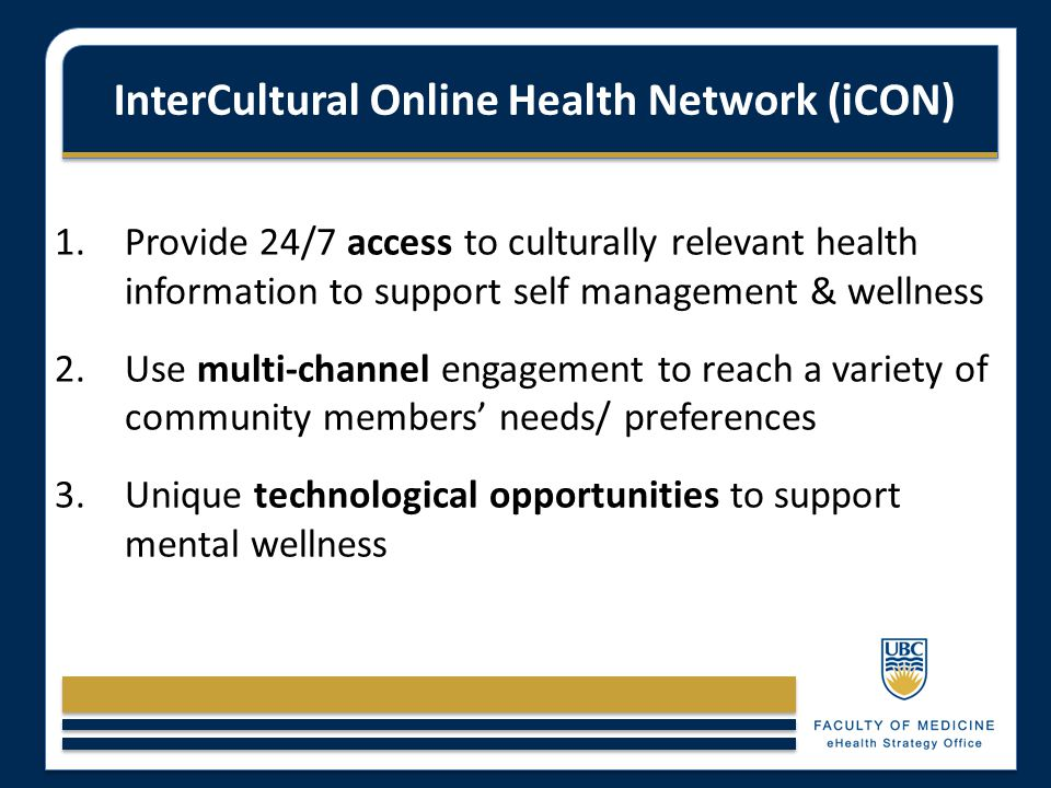 InterCultural Online Health Network (iCON) 1.Provide 24/7 access to culturally relevant health information to support self management & wellness 2.Use