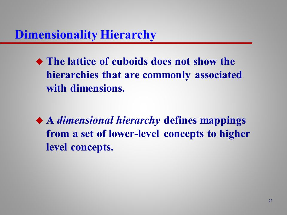 27 Dimensionality Hierarchy u The lattice of cuboids does not show the hierarchies that are commonly associated with dimensions.