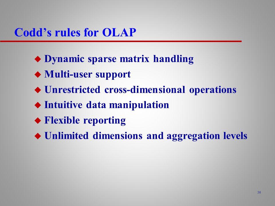 36 Codd's rules for OLAP u Dynamic sparse matrix handling u Multi-user support u Unrestricted cross-dimensional operations u Intuitive data manipulation u Flexible reporting u Unlimited dimensions and aggregation levels