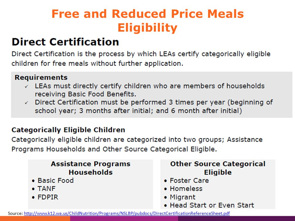 Free and Reduced Price Meals Eligibility School District required to directly certify, and notify households that kids can receive FREE meals at school.