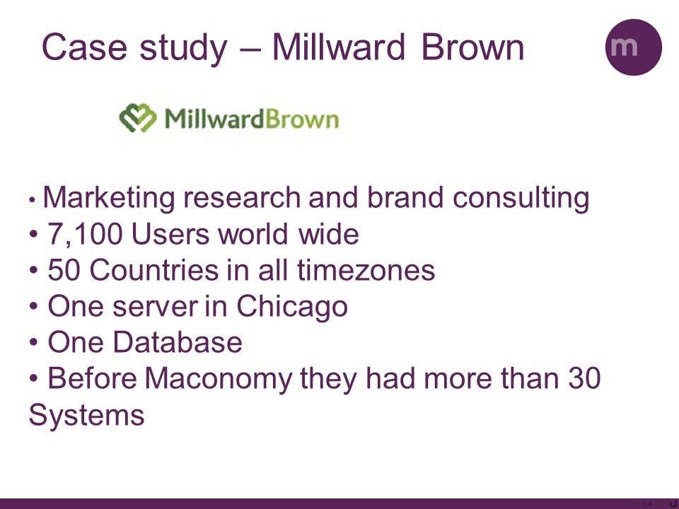 1.4 Case study – Millward Brown Marketing research and brand consulting 7,100 Users world wide 50 Countries in all timezones One server in Chicago One