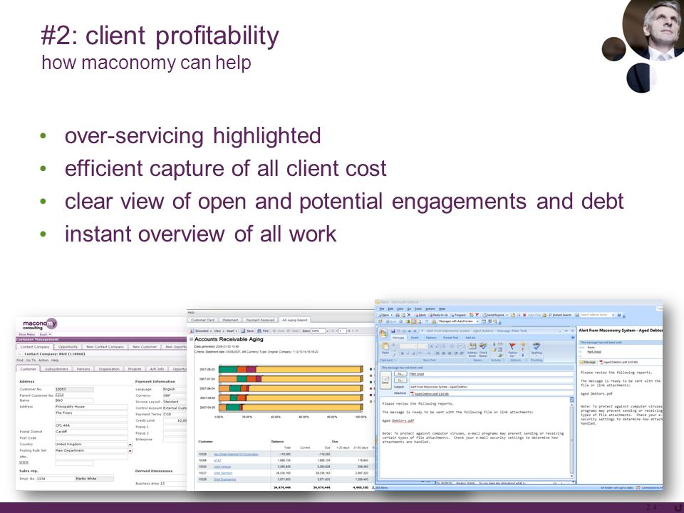#2: client profitability how maconomy can help over-servicing highlighted efficient capture of all client cost clear view of open and potential engage