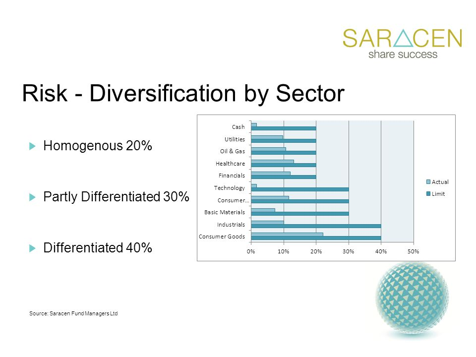 Risk - Diversification by Sector Homogenous 20% Partly Differentiated 30% Differentiated 40% Source: Saracen Fund Managers Ltd
