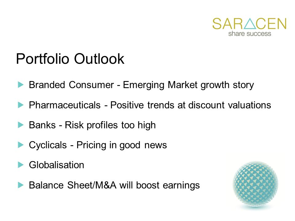 Portfolio Outlook Branded Consumer - Emerging Market growth story Pharmaceuticals - Positive trends at discount valuations Banks - Risk profiles too high Cyclicals - Pricing in good news Globalisation Balance Sheet/M&A will boost earnings