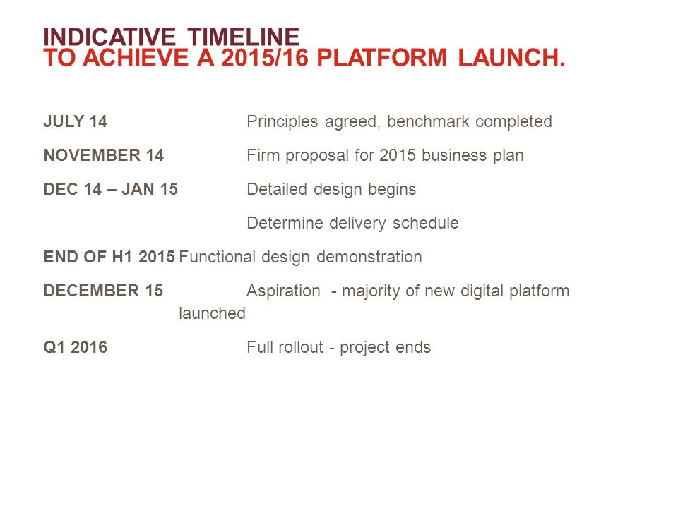 INDICATIVE TIMELINE TO ACHIEVE A 2015/16 PLATFORM LAUNCH.