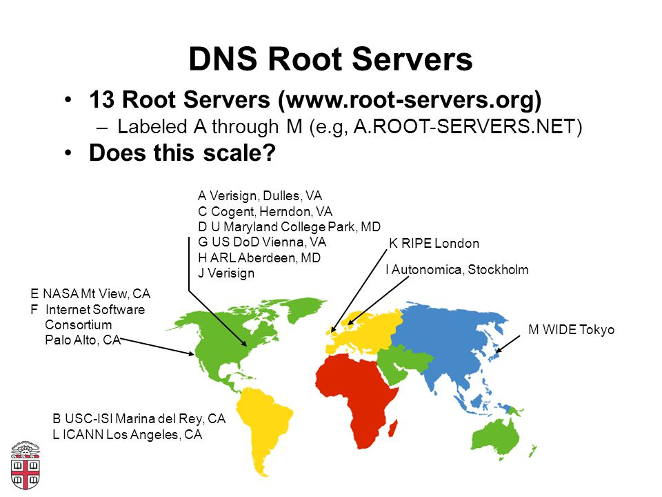 DNS Root Servers 13 Root Servers (www.root-servers.org) –Labeled A through M (e.g, A.ROOT-SERVERS.NET) Does this scale.