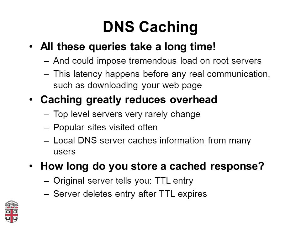 DNS Caching All these queries take a long time.