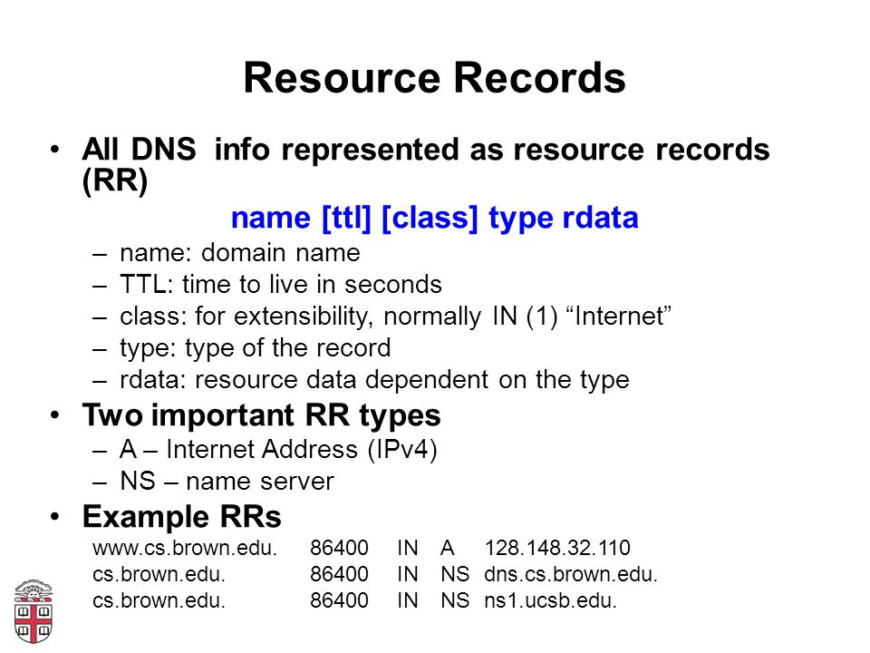 Resource Records All DNS info represented as resource records (RR) name [ttl] [class] type rdata –name: domain name –TTL: time to live in seconds –class: for extensibility, normally IN (1) Internet –type: type of the record –rdata: resource data dependent on the type Two important RR types –A – Internet Address (IPv4) –NS – name server Example RRs www.cs.brown.edu.86400INA128.148.32.110 cs.brown.edu.86400INNSdns.cs.brown.edu.