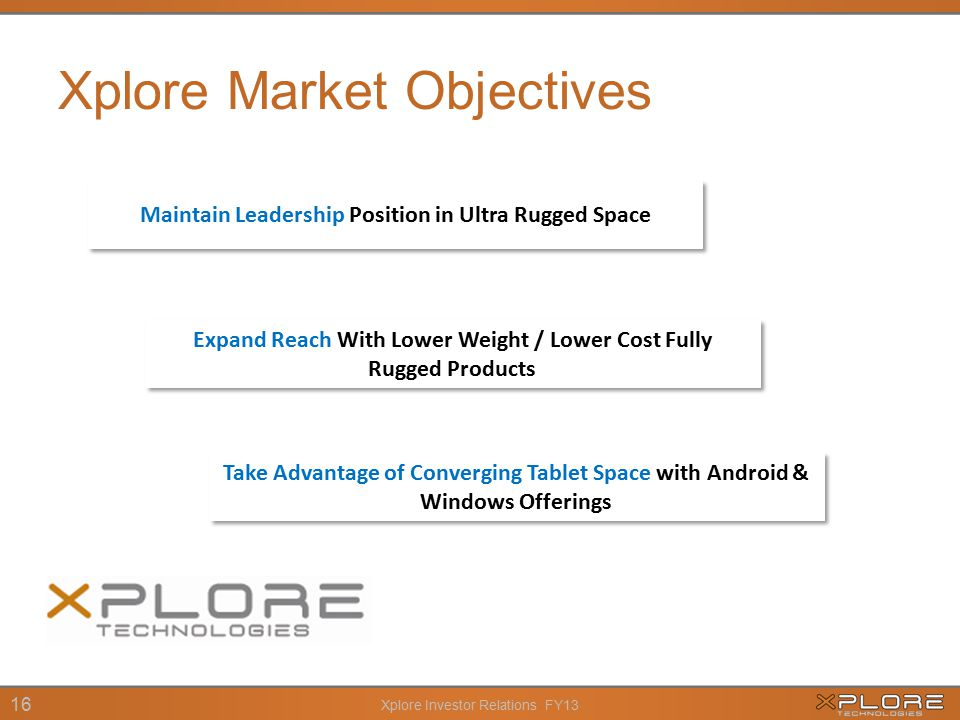 Xplore Investor Relations FY13 16 Xplore Market Objectives Maintain Leadership Position in Ultra Rugged Space Take Advantage of Converging Tablet Space with Android & Windows Offerings Expand Reach With Lower Weight / Lower Cost Fully Rugged Products