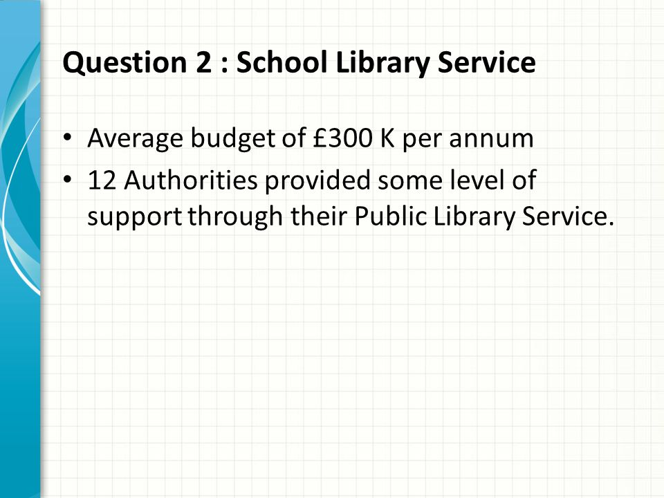 Question 2 : School Library Service Average budget of £300 K per annum 12 Authorities provided some level of support through their Public Library Service.