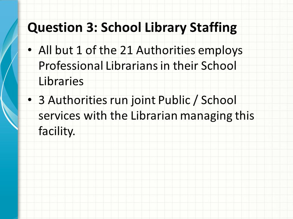 Question 3: School Library Staffing All but 1 of the 21 Authorities employs Professional Librarians in their School Libraries 3 Authorities run joint Public / School services with the Librarian managing this facility.