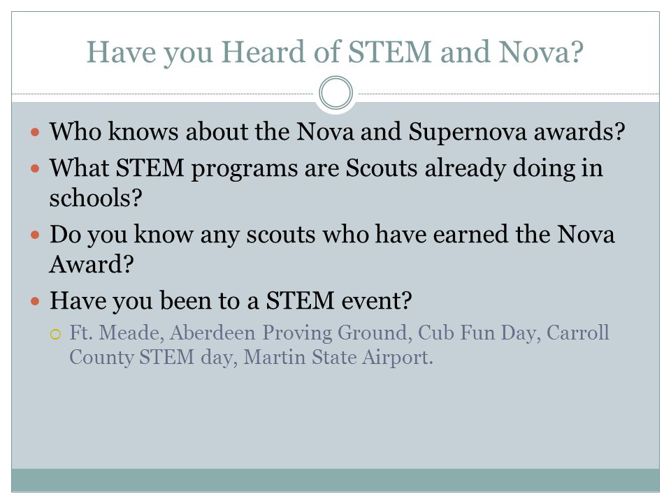 Have you Heard of STEM and Nova. Who knows about the Nova and Supernova awards.