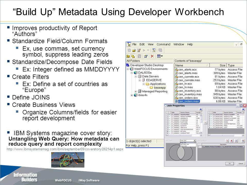 """Build Up"" Metadata Using Developer Workbench  Improves productivity of Report ""Authors""  Standardize Field/Column Formats  Ex, use commas, set cur"