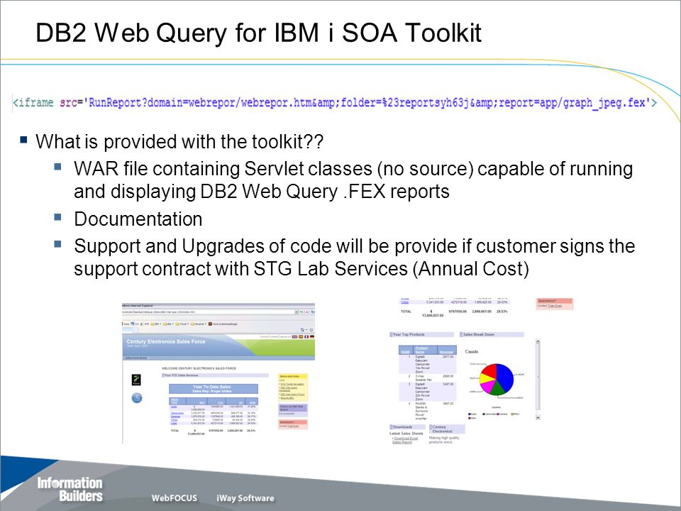 DB2 Web Query for IBM i SOA Toolkit  What is provided with the toolkit??  WAR file containing Servlet classes (no source) capable of running and dis