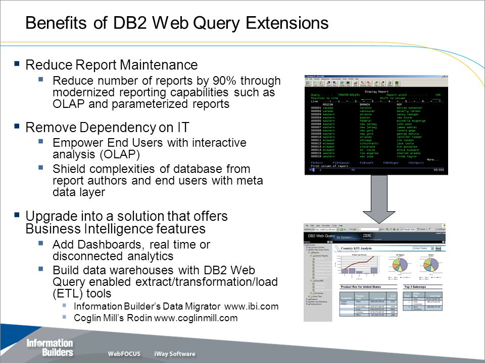 Benefits of DB2 Web Query Extensions  Reduce Report Maintenance  Reduce number of reports by 90% through modernized reporting capabilities such as OLAP and parameterized reports  Remove Dependency on IT  Empower End Users with interactive analysis (OLAP)  Shield complexities of database from report authors and end users with meta data layer  Upgrade into a solution that offers Business Intelligence features  Add Dashboards, real time or disconnected analytics  Build data warehouses with DB2 Web Query enabled extract/transformation/load (ETL) tools  Information Builder's Data Migrator www.ibi.com  Coglin Mill's Rodin www.coglinmill.com 9