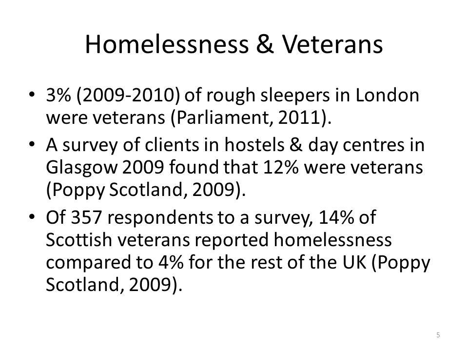 Homelessness & Veterans 3% (2009-2010) of rough sleepers in London were veterans (Parliament, 2011).